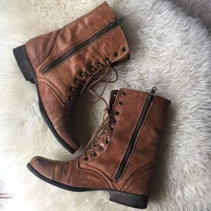 Steve Madden Brown Leather Boots, Size 7.5